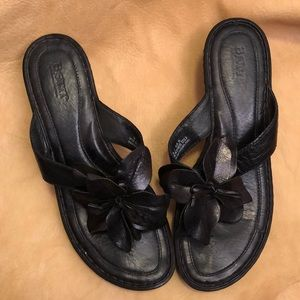 Black Born Leather Flower Sandals